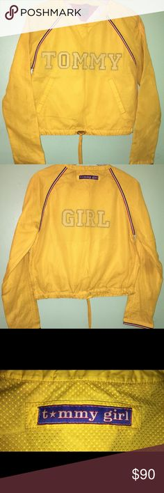 """Vintage Tommy Hilfiger Pullover mesh light jacket Vintage 90s Tommy Hilfiger girl light Pullover jacket , yellow , mesh top   Women's size medium  Armpit to armpit: 19 in"""" Collar to bottom: 17 in""""  Great overall condition, 2 small holes on the mesh part, one on the back and one on the right sleeve not really noticeable. No other issues   Shipping in the USA first class only at the moment just starting poshmark. Check out my eBay also if interested in other items…"""
