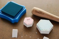 Making Hexagon Stamps by wildolive, via Flickr  http://wildolive.blogspot.com/2013/04/project-make-hexagon-stamps.html