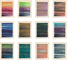 Line monoprints from artist Dana McClure. These archival prints are limited edition reproductions of her original silkscreened monoprints printed on archival paper, signed and numbered. The original print series used five films of various line weights and textures to explore unlimited variations in color, transparency, frequency and order.