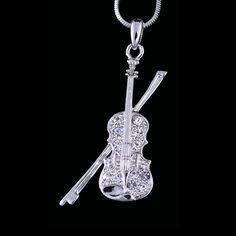 Clear Swarovski Crystal Violin Music Silver by BijouxDeNuit