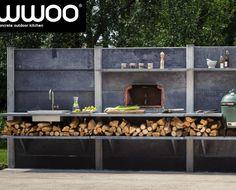 Impressie van de WWOO buitenkeuken 200 cm hoog in het antraciet met een pizzaoven, BGE en wasbak