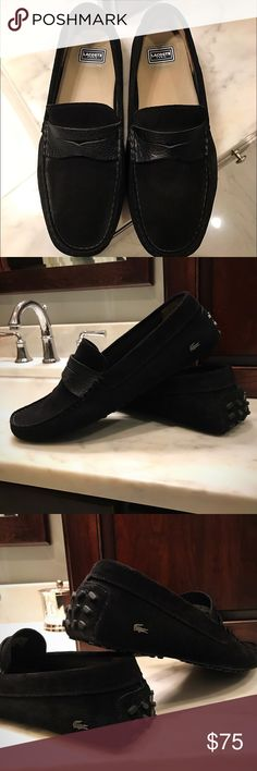 LACOSTE Paris--Black Suede Drivers Beautiful Black Suede. Hand stitched moccasin construction. Flexible rubber nubby driving sole and heel protector. New condition. Lacoste Shoes Loafers & Slip-Ons