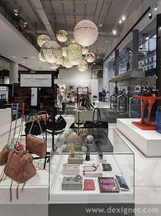 Selfridges Fashion Accessories Hall by UXUS store design- flagpole signs Visual Merchandising, Interior Concept, Interior Design, Selfridges London, Retail Experience, Customer Experience, Branding, Young Designers, Design Furniture