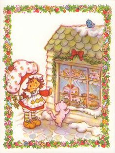 Strawberry Shortcake Christmas Card with Custard and Bakery Window Strawberry Shortcake Characters, Vintage Strawberry Shortcake, Vintage Christmas, Christmas Cards, Christmas Time, Tarjetas Diy, Cookies For Santa Plate, Hello Kitty, Dibujos Cute