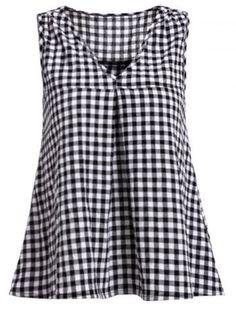 Cute V-Neck Sleeveless Plaid Print Women's Blouse Blouses | RoseGal.com Mobile