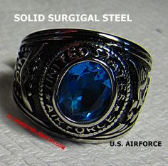 316L Surgical Steel U.S. Air Force Rings Size 7 - 16