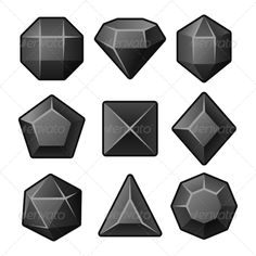 Set of Black Gems for Match3 Games. Vector illustration