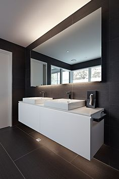 Contemporary Two Sinks Bathroom #design #ideas