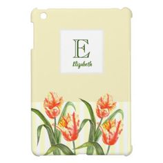 Watercolor Yellow Parrot Tulip Floral Art Monogram iPad Mini Cases - initial gift idea style unique special diy
