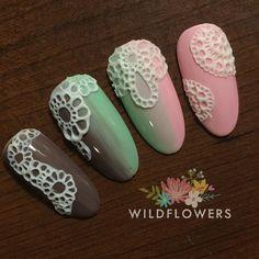 Lace Nail Design, 3d Nail Designs, Lace Nail Art, Purple Nail Designs, Lace Nails, 3d Nail Art, Nail Art Hacks, 3d Nails, Cool Nail Art