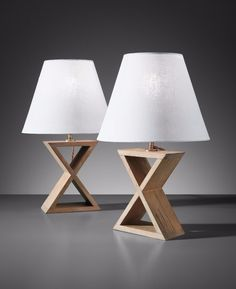 Jean-Michel Frank; Oak and Brass Table Lamps by Compte for the Hotel Horizonte, c1940.