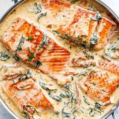 Creamy Garlic Butter Tuscan Salmon (OR TROUT) is such an incredible recipe! Rest… Creamy Garlic Butter Tuscan Salmon (OR TROUT) is such an incredible recipe! Restaurant quality salmon in a beautiful creamy Tuscan sauce! Spinach Recipes, Shrimp Recipes, Healthy Chicken Recipes, Cooking Recipes, Cooking Food, Easy Cooking, Grilling Recipes, Roast Chicken Recipes, Garlic Recipes