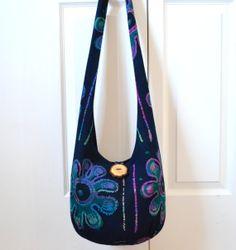 MADE TO ORDER Hobo Bag, Vintage Batik, Boho Bag, Navy Blue, Purple, Pink, Teal, Large Flowers, Mod, Retro, Sling Bag, Bohemian Purse