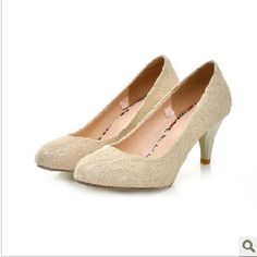 Cream-Colored Lace Satin Low Heel Bridal Wedding Shoes