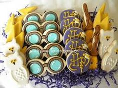 Harry Potter decorated cookies (owls, glasses, brooms)