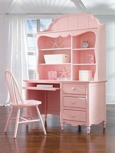 Pretty pink desk---add a hutch to a desk & paint it & remember to paint a chair to go with it! : Pretty pink desk---add a hutch to a desk & paint it & remember to paint a chair to go with it! Pink Furniture, Shabby Chic Furniture, Shabby Chic Decor, Painted Furniture, Upcycled Furniture, Family Furniture, Chabby Chic, Garden Furniture, Antique Furniture