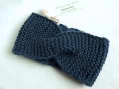 Knitted+Headband+Ear+Warmer+Turban+in+NAVY+BLUE+by+VANAGScreative