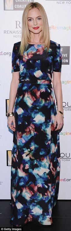 Hollywood glamour: Heather looked typically stunning in a flattering kaleidoscopic dress...