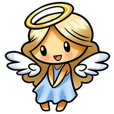 Cute Cartoon Drawings, Easy Drawings, Angel Drawing Easy, Good And Evil Tattoos, Angel Cartoon, Angel Clipart, Angel Pictures, Christmas Drawing, Cute Chibi