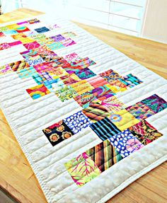 Quilted Table Runner, Modern Table Runner, Rainbow Table Runner, Patchwork Table…