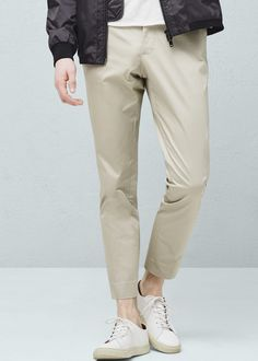 Trendy Casual collection Slim-fit Cotton fabric Two side pockets Loops Zipped pocket on the back Inner silicon straps for better grip Concealed button, hook and zip fastening Mango Sale, Philippines, Cotton Fabric, Khaki Pants, Trousers, Slim, Fitness, Casual, Clothes
