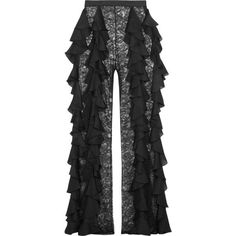 Balmain Silk-ruffled lace wide-leg pants ($4,710) ❤ liked on Polyvore featuring pants, lace ruffle pants, lace trousers, balmain pants, wide leg trousers and balmain