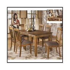 Dining-Room-Set-Table-Chairs-Kitchen-Furniture-5-Piece-Dinette-Rustic-Wood-Home