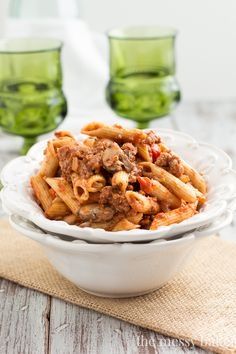 ... chickpeas and sausage baked ziti with spicy pork and sausage ragu