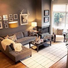 18 Best Rustic Apartment Living Room Decor Ideas and Makeover Cozy Living Rooms, Living Room Paint, Living Room Modern, Apartment Living, Living Room Designs, Small Living, Rustic Apartment, Living Room Warm Colors, Barn Living