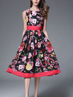 US$ 82.89 TangJie Floral Printed Belt Slim Sleeveless Women Dresses