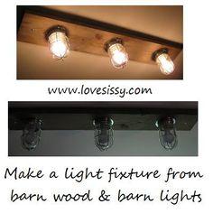 light fixture made of barn wood & barn lights