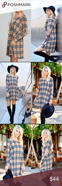 "TAUPE PLAID  DRESS MADE IN USA- PREMIUM COLLECTION   ADORABLE HIDDEN SIDE POCKETS! So soft & comfortable and on trend. Reminds me of the popular designer plaid print without the price tag.   Taupe colored bodice with plaid black/red pattern. Gorgeous camel colored suede elbow patches.   Approx 33.5"" long for small and looks adorable alone or w/ leggings.   Fits gorgeously flowy. S(2-4) M(6-8) L(10-12)   ‼️PRICE ABSOLUTELY FIRM‼️ THESE ARE MADE IN USA BOUTIQUE QUALITY. YOU MAY BUNDLE FOR A…"