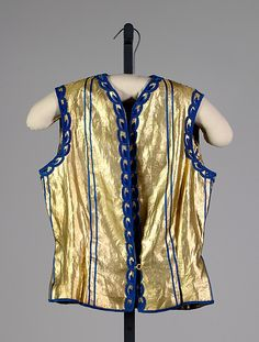 Evening vest  House of Schiaparelli  (French, 1928–1954)  Designer: Elsa Schiaparelli (Italian, 1890–1973) Date: winter 1936–37 Culture: French Medium: Silk, metallic Credit Line: Brooklyn Museum Costume Collection at The Metropolitan Museum of Art, Gift of the Brooklyn Museum, 2012; Gift of Arturo and Paul Peralta-Ramos, 1954