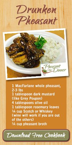 Pheasant For Dinner Cookbook Wild Game Recipes, Fun Recipes, Meat Recipes, Dinner Recipes, Cooking Recipes, Easy Pheasant Recipes, How To Cook Pheasant, Grouse Recipes, Dinners