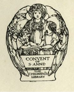 Margaret Ely Webb, Bookplate of The Children's Library, The Covenant of St. Anne, ca. 1915.  Engraving, 6.3 x 7.5 cm.  William Augustus Brewer Bookplate Collection, Special Collections Department, University of Delaware Library.