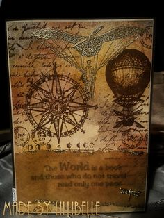 Card *The world is a book ...* made with rubber stamps and mixed media by http://lillibelles.blogspot.de/