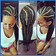Big cornrows with extensions