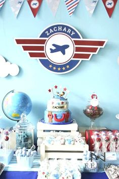 Baby Aviator Airplane Baby Shower Party Ideas Airplane baby