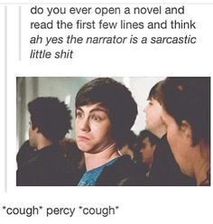 """I get so excited. I love reading stuff and being like """"i would say that."""" Its even more perfect cause its a picture of percy jackson aka the sass master>>>Rick riordan is one of my favourite authors Percy Jackson Memes, Percy Jackson Fandom, Percy Jackson First Book, Percy Jackson Annabeth Chase, Percy Jackson Movie, Magnus Chase, Love Book, I Love Reading, The Kane Chronicles"""