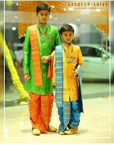 Kids dhoti Kids Indian Wear, Kids Ethnic Wear, Kids Dress Wear, Boys Wear, Mom And Son Outfits, Boy Outfits, Indian Men Fashion, Kids Fashion, Kids Kurta