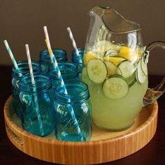 Cucumber Lemonade CocktailI I have blue mason jars for display