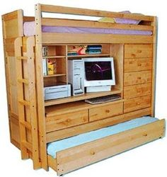 Schon Amazon.com: BUNK BED ALL IN 1 LOFT WITH TRUNDLE DESK CHEST CLOSET Paper