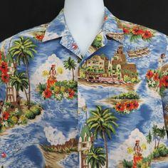 c69386f1ae2 Details about Vintage RJC L Aloha Tower Hula Royal Hawaiian Diamond Head Aloha  Shirt
