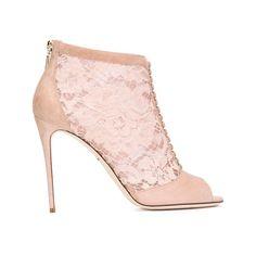 Dolce & Gabbana 'Keira' Stiefeletten, Damen, GröBe: 37.5, Rosa/Lila, Leder/Wildleder/Nylon/Polyester