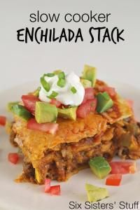 Six Sisters Slow Cooker Beef Enchilada Stack Recipe is one of our favorites and so easy in the slow cooker!