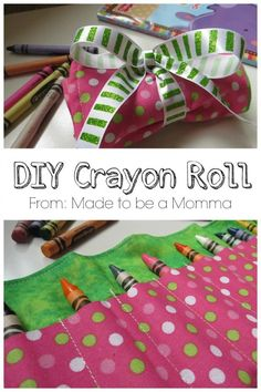 DIY gift idea for kids -crayon roll to store all their crayons. Perfect for on the go!