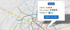 Le site immobilier Meilleursagents.com a mis en ligne un comparatif des prix du mètre carré à Paris et en banlieue parisienne reposant sur le plan du métro parisien.