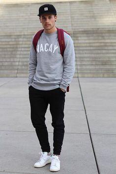 Get this look: http://lb.nu/look/7908536 More looks by Kevin Elezaj: http://lb.nu/kevinelezaj Items in this look: Adidas Sneakers, Asos Sweatpants, Manners Apparel Sweater, Herschel Bag, Obey Cap #minimal #sporty #street