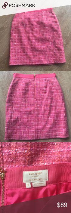 Kate Spade Kylie Tweed Skirt Kate Spade Kylie Tweed Pencil Skirt; Knee Length; Pink Ribbon Detail Around Waist; Gold Zip Closure in Back; Excellent Condition kate spade Skirts Pencil