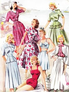 Scores of lovely 1940s summer/beach fashions. #vintage #1940s #fashion #dresses